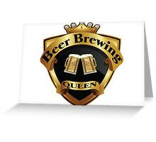 Golden Beer Brewing Queen Crown Crest Greeting Card