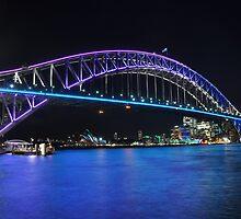 Vivid lights on Sydney Harbour bridge by mappy1