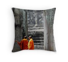Two monks at a temple Throw Pillow