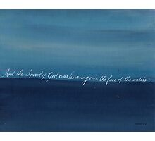 Genesis 1:2 handwritten with blue acrylic painting Photographic Print