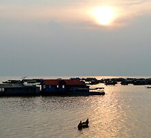 Dusk at Tonle Sap by Paige