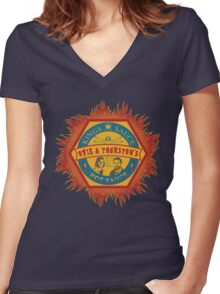 Opie and Thurston's Hot Sauce Women's Fitted V-Neck T-Shirt