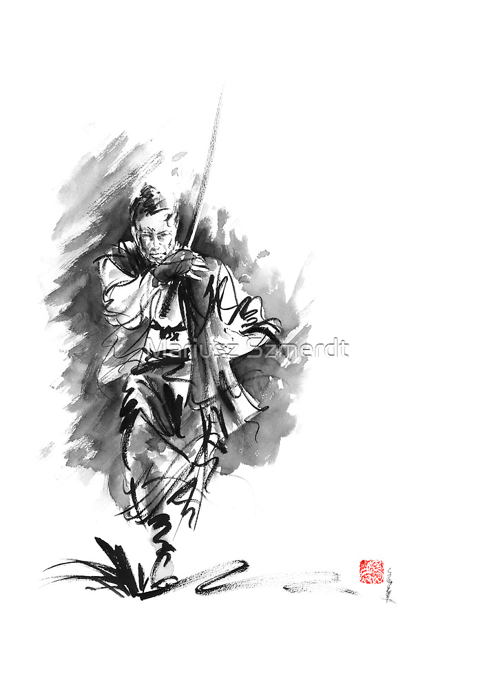 Samurai sword bushido katana martial arts sumi-e original running run man design ronin ink painting artwork by Mariusz Szmerdt
