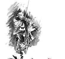 Samurai sword bushido katana martial arts sumi-e original running run man design ronin ink painting artwork by Mariusz Szmerdt