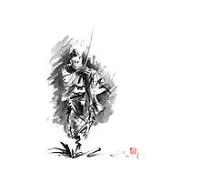 Samurai sword bushido katana martial arts sumi-e original running run man design ronin ink painting artwork Photographic Print