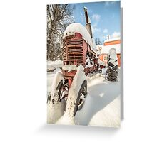 Vintage Farmall Tractor in the Snow Greeting Card