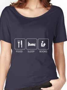 Food Sleep Books Women's Relaxed Fit T-Shirt