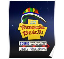 Pensacola Beach Sign and Stars Poster