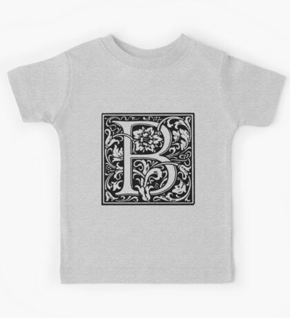 William Morris Renaissance Style Cloister Alphabet Letter B Kids Tee