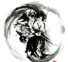 Aikido techniques martial arts sumi-e black white round circle design yin yang ink painting watercolor artwork by Mariusz Szmerdt
