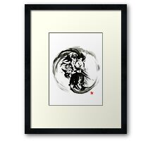 Aikido techniques martial arts sumi-e black white round circle design yin yang ink painting watercolor artwork Framed Print