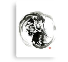 Aikido techniques martial arts sumi-e black white round circle design yin yang ink painting watercolor artwork Metal Print