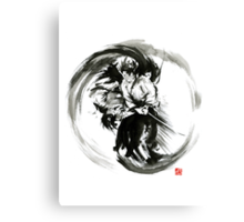 Aikido techniques martial arts sumi-e black white round circle design yin yang ink painting watercolor artwork Canvas Print