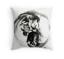Aikido techniques martial arts sumi-e black white round circle design yin yang ink painting watercolor artwork Throw Pillow