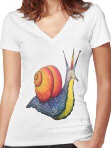 Rainbow Snail-icorn Women's Fitted V-Neck T-Shirt