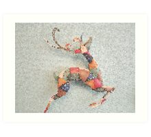 Patchwork Reindeer in the Snow Art Print