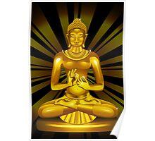 Buddha Siddhartha Gautama Golden Statue Poster