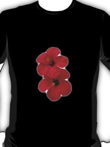 Two Red Hibiscus Flowers T-Shirt