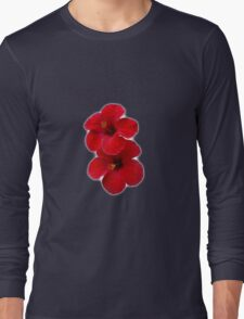Two Red Hibiscus Flowers Long Sleeve T-Shirt
