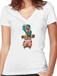 The Pilot Pig! Women's Fitted V-Neck T-Shirt