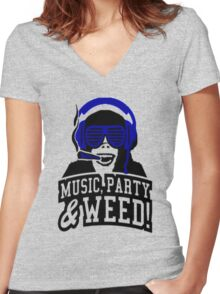 Music Party Weed Women's Fitted V-Neck T-Shirt