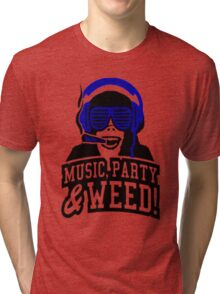 Music Party Weed Tri-blend T-Shirt