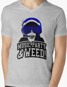 Music Party Weed Mens V-Neck T-Shirt