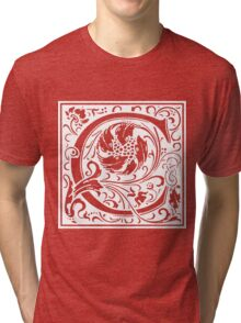 William Morris Renaissance Style Cloister Alphabet Letter C Tri-blend T-Shirt