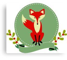 Cute Red Fox Illustration Canvas Print