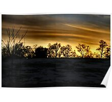 Sunset on a snowy day Poster