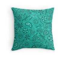 Microbes - Green Throw Pillow
