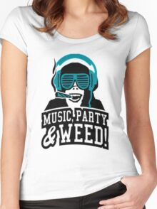 Music Party Weed 2 Women's Fitted Scoop T-Shirt