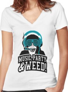 Music Party Weed 2 Women's Fitted V-Neck T-Shirt