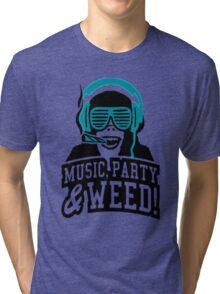 Music Party Weed 2 Tri-blend T-Shirt