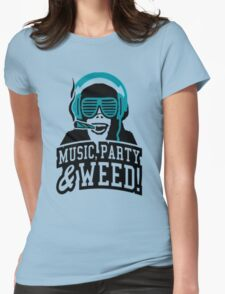 Music Party Weed 2 Womens Fitted T-Shirt