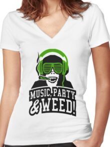 Music Party Weed 3 Women's Fitted V-Neck T-Shirt