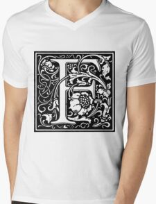 William Morris Renaissance Style Cloister Alphabet Letter F Mens V-Neck T-Shirt