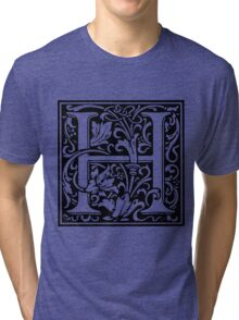 William Morris Renaissance Style Cloister Alphabet Letter H Tri-blend T-Shirt