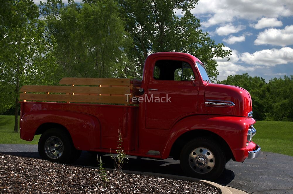 """Here Comes Big Red"" 1951 Ford F-6 One Ton Pickup Truck by TeeMack"