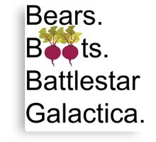The Office US - Bears. Beets. Battlestar Galactica Canvas Print