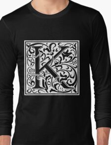 William Morris Renaissance Style Cloister Alphabet Letter K Long Sleeve T-Shirt