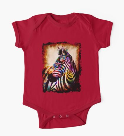 Zebra in Color by Mark Compton One Piece - Short Sleeve