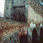 Gate on bridge across moat to Montagnana Italy 198404180020m by Fred Mitchell
