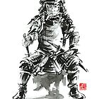 Samurai sword bushido armor yoroi katana martial arts sumi-e original ink painting artwork by Mariusz Szmerdt
