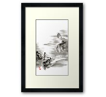 Mountain view poet in mountain haiku sky snow and clouds landscape sumi-e original ink painting Framed Print