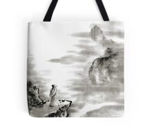 Mountain view poet in mountain haiku sky snow and clouds landscape sumi-e original ink painting Tote Bag