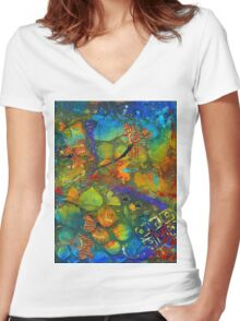 An Aquatic Wine Party Women's Fitted V-Neck T-Shirt