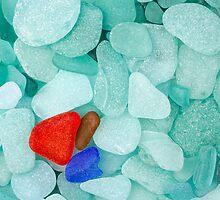 Three sea glass pieces by Cebas