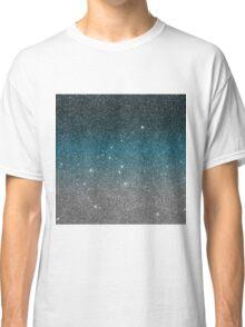 Pretty Faux Glitter Gradient in Black, Blue, White Classic T-Shirt