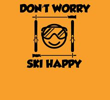 Don't worry, ski happy Womens Fitted T-Shirt